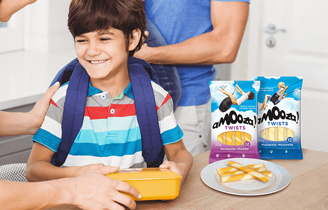Family packing school lunch with aMOOza! Twists