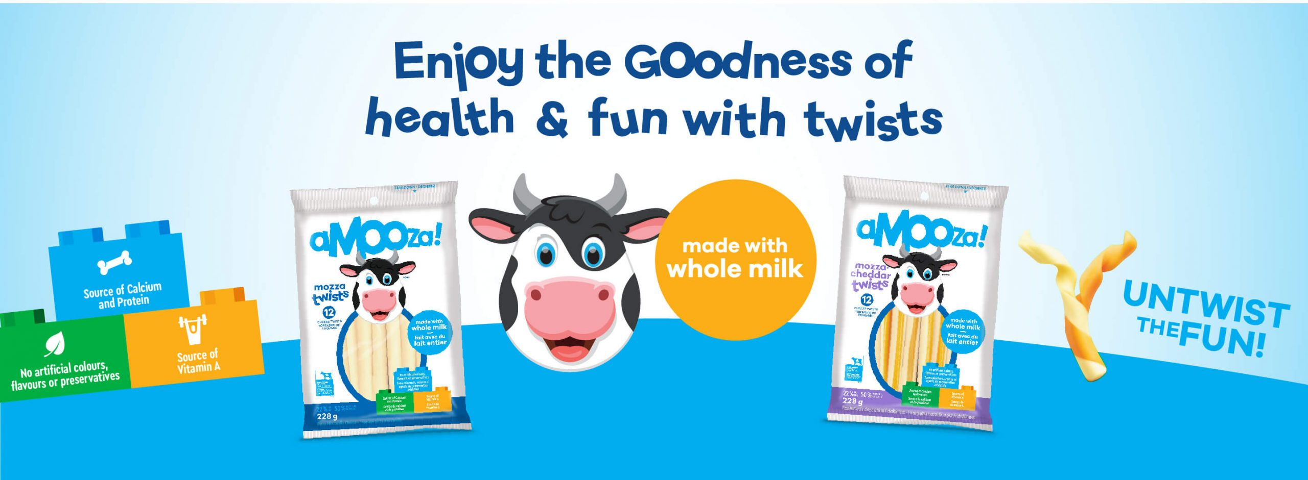 Enjoy the goodness of health and fun with twists. Made with whole milk. Untwist the fun!